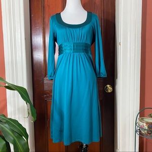 Boden blue green/teal 3/4 sleeve silk dress